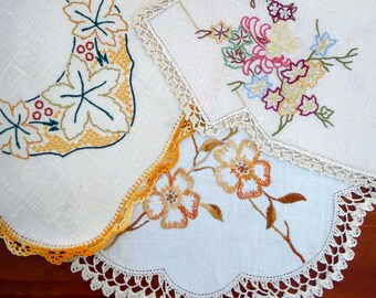 Three vintage embroidered table centres, table centers, doilies, autumn tones