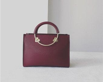 Burgundy Handbag/Crossbody with Metal Handel
