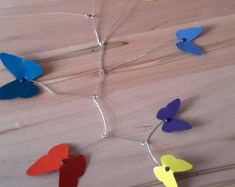 Calder inspired kinetic metal mobile butterfly