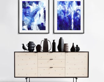 Set of 2 printable abstract painting, instant download acrylic blue abstract painting, printable abstract painting print set, wall art set
