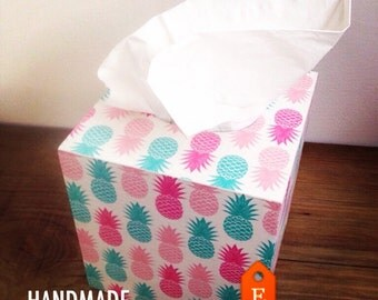 pink and turquoise pineapples tissue box cover, tissue box holder, kleenex box, kleenex box cover, kleenex holder