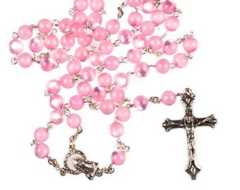Pink Rosary Beads. Hand Made rosary Beads. A lovely First Holy Communion Gift