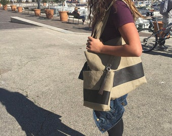 SET of 2 linen and leather everyday bags