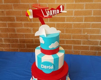 airplane topper, biplane cake topper for boys, vintage aeroplane, red baron  bi plane cake topper