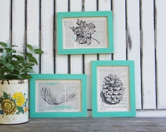 Natural Prints Set, Rustic Framed Art, Feather Print, Botanical Art, Book Art, Set Of 3, Kitchen Decor, Hipster Wall Art, Home & Living