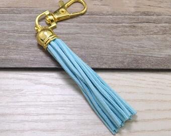 3pcs Long Tassels Keychains,Light Blue Suede Leather Tassel,Gold Plastic Cap,Gold Metal Key Clasp,Keychain Tassels Pendant,Tassel Bag Charm