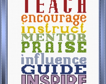Teach, Encourage, Praise PDF Cross-Stitch Pattern