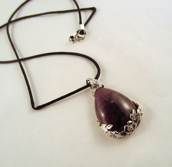 amethyst Rose tear drop Necklace: Natural Crystal Pendant, Stone Jewelry
