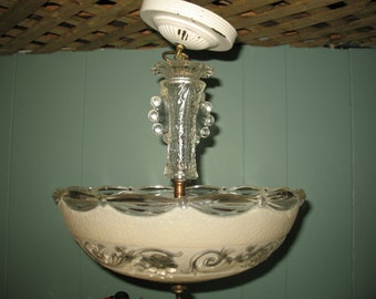 Vintage chandelier glass Press new Style of years 1950/60 ceiling restore.