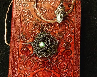 Leather Notebook with Crystals