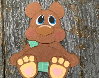 Handmade Cut Out Paper Scrapbook Embellishment Gift Package Tag Baby Zoo Animal Brown Bear