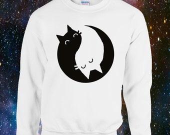 Yin Yang Kittens Sweatshirt Cute Quirky Cat Kitten Chinese Yinyang be more cat
