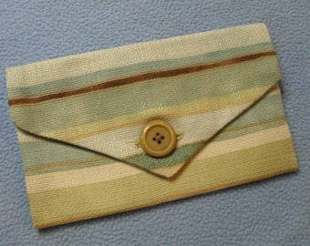 Handmade Purse Wallet Pouch~ Vintage Fabrics with Antique Button, Handsewn