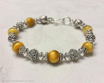 Golden Tiger  Eye and Sterling Silver Bracelet