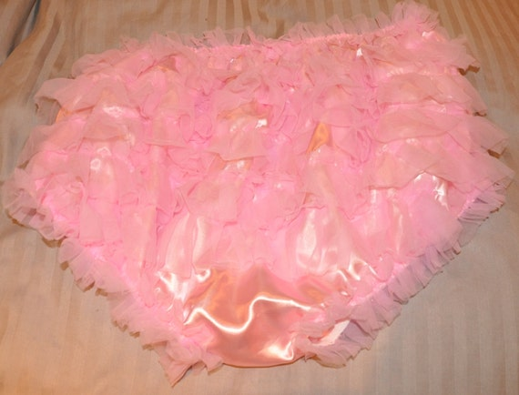 SALE  --  Frilly bum sissy satin panties - silky satin princess posing panties...wonderful silky pink pantie fun - Sissy Lingerie