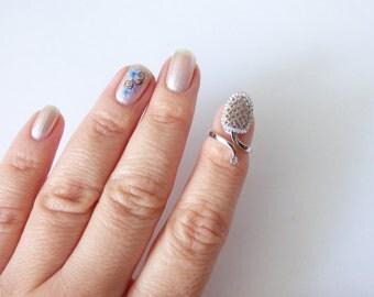 Finger Nail Ring, Adjustable Nail Ring, Micro Pave CZ Diamond Ring, Silver Midi Ring, Sparkling Fingernail Ring, Knuckle Ring, Stacking Ring