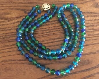 West Germany Blue, Green, Turquoise and Caribbean Blue Faceted Plastic Beaded Double Strand Necklace 1083