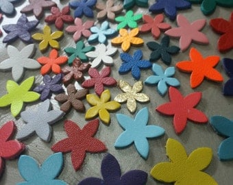 Leather Flowers, 15mm. 20mm 25 mm. & Mixed Sizes, Mixed Colors, Leather Flowers Die Cut, DIY Projects.