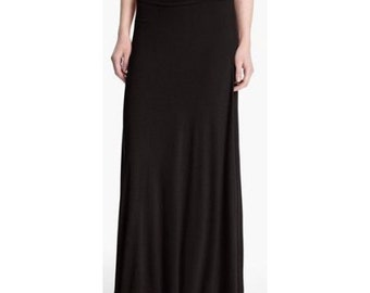 "40"" Maxi Skirt | Long Jersey Skirts for Women | Ruched Waist | BLACK"
