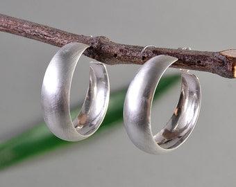 Sterling silver wide hoops, Medium size hoops, matte stud earring, simple thick hoop, plain earring, minimal jewelry, women classy hoops.
