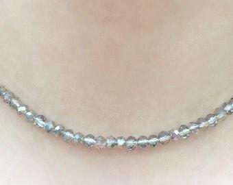 Choker Beaded Silver Grey,  Adults size Nickel Free Hypoallergenic