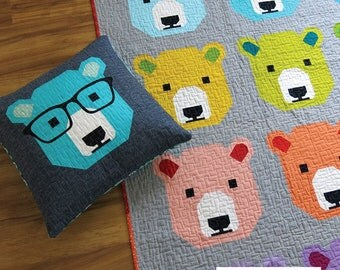 Bjorn Bear Quilt Pattern by Elizabeth Hartman from Oh Fransson Quilts, quilt and pillow pattern