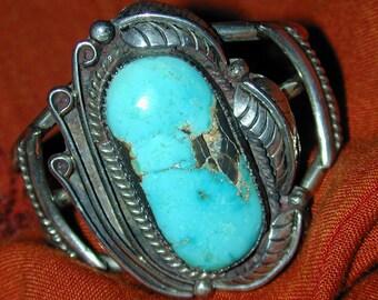 "Vintage Navajo Wide  Sterling Silver Turquoise Signed Cuff Bracelet,  2"" wide, Large  Blue Gem Mine Stone w/ natural fractures, Ornate,"