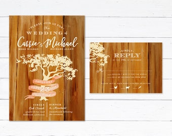 Oak Tree Wedding Invitation, Rustic Wedding Invitation, Rustic Tree Wedding Invitation, Oak Tree Ribbon Wedding Invitation