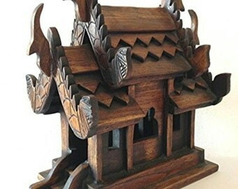 Thai Handcraft Spirit House Teak Wood for Home Decor