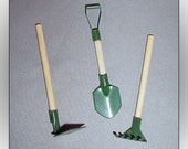 3 Fairy Garden Miniature Tools Dollhouse Hoe Shovel Rake