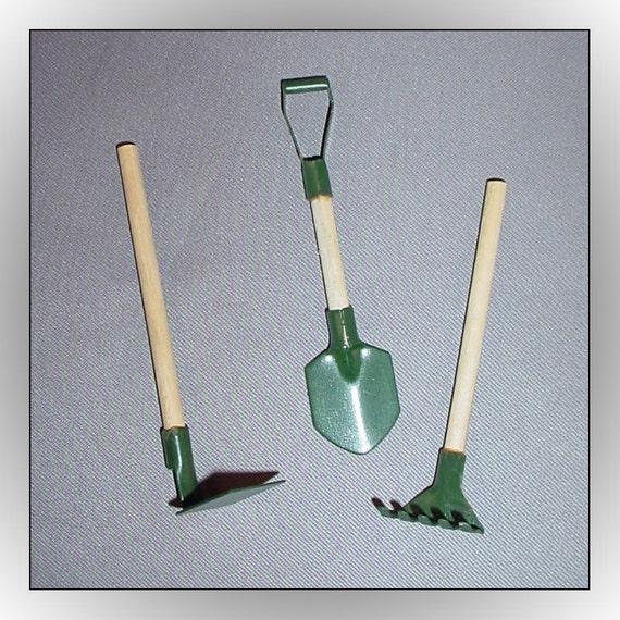 3 fairy garden miniature tools dollhouse hoe shovel rake for Small garden tools set of 6