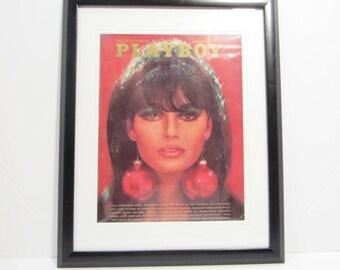 Vintage Playboy Magazine Cover Matted Framed : December 1966 - Nancy Gould