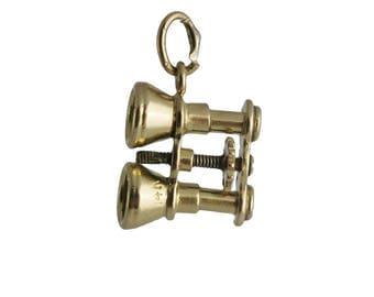 Vintage Small 14K Gold Binoculars Charm