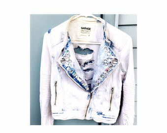 Reworked Upcycled Distressed Bleached Denim Moto Style Jacket with Jewel Embellishments
