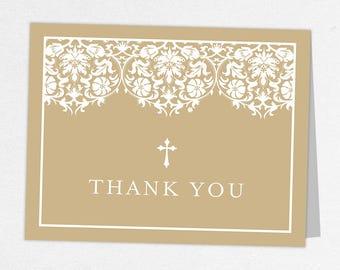Communion Thank You Card, Photo Communion Thank You, Printable Communion Thank You, Folded Card, Printed, Damask, Lace, Burlap, Kraft, Maura