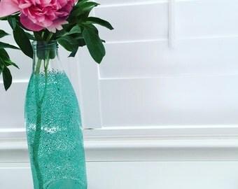 "10"" Tall Bottle/Vase (aqua)"