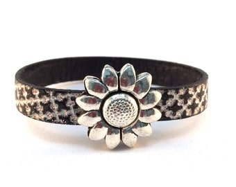 Black and white flat leather bracelet with pretty flower magnetic clasp - gift for her, birthday present, christmas