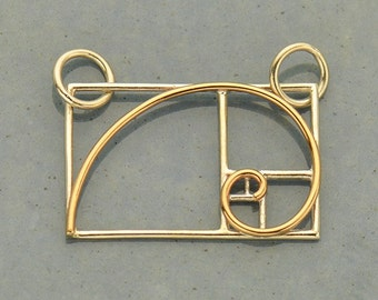 Sterling Silver, Golden Ratio, Sacred Geometry, Golden Ratio Charm, Silver and Bronze, Wire Gold Ratio, Geometric Charm, Geometric Jewelry