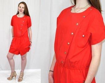 Vintage 80s Red Cotton Asymmetrical SNAP Blouson Retro ROMPER Shorts Jumpsuit L