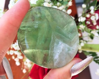 Fluorite Crystal Palm Stone /Green Fluorite infused w/ Reiki
