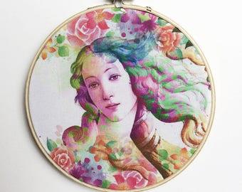 Birth of Venus Wall Art, Botticelli Home Decor, Botticelli Art, Round Wall Decor, Hoop Art, Hoop Wall Decor, Hoop Frame Art, Canvas Wall Art