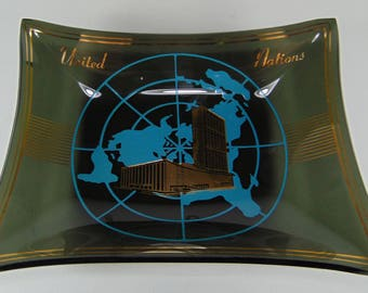 Vintage United Nations Souvenir Dish / Tray / Ashtray, 1950's