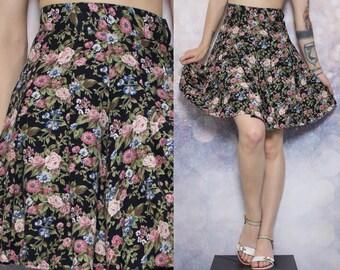 90s Floral Skirt High Waisted Skater Skirt Hipster Skirt Grunge Skirt Hippie Skirt Boho Skirt Tumblr Aesthetic Black Goth Skirt Size S/M
