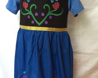 Anna from Frozen comfy T-shirt Dress, sizes 4 and 5 (ages 4-5, 5-6)