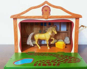 Purebred Horse Stable with Horse and Food