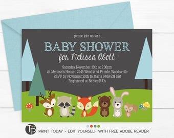 WOODLAND Baby Shower Invitation, Instant Download Woodland BABY SHOWER Invitation, Baby Shower Invitations, Woodland Animals Baby Shower
