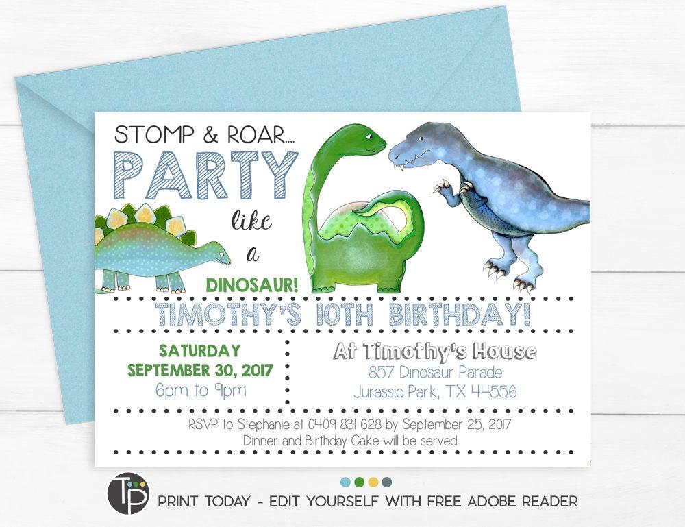 DINOSAUR INVITATION Instant Download Dinosaur Party