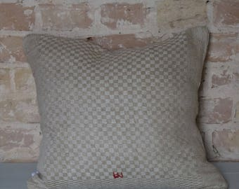 pillow case from antique linen: light diamonds 45*40cm