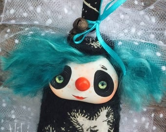 Clown. Blue. Clown doll. Circus. Interior doll.Handmade doll. Polymer clay doll. Collectible toy. Freak. Cute toy. OOAK art doll. Kawaii