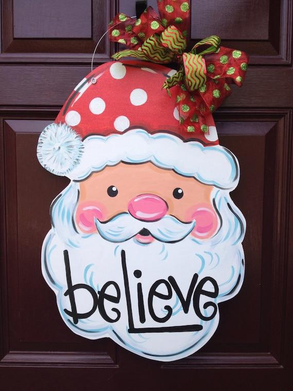 Santa Door Hanger Christmas Door Hanger Santa Wreath